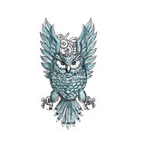 Owl Swooping Wings Clock Gears Tattoo