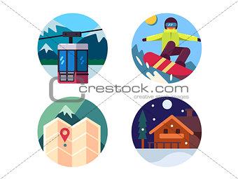Ski resort set of icons