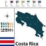 Map of Costa Rica with flags
