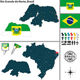 Map of Rio Grande do Norte, Brazil