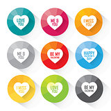 Heart flat icon set with different greetings