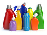 Detergent bottles or containers.
