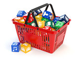 Application software icons  boxes in the shopping basket