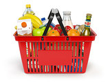 Shopping market  basket with variety of grocery products isolate