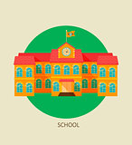 Classical school building icon.
