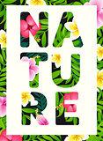 Tropical print slogan.