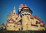 Beautiful medieval Kreuzenstein castle in Leobendorf village. Near Vienna, Austria - Europe. Autumn day.
