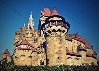 Beautiful medieval Kreuzenstein castle in Leobendorf village. Near Vienna, Austria - Europe. Autumn day.