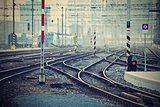 The train station and tracks. Brno Czech Republic. Central Station.