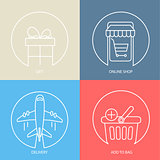 Outline e-commerce web icon set.