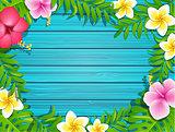 Summer frame on wood background.
