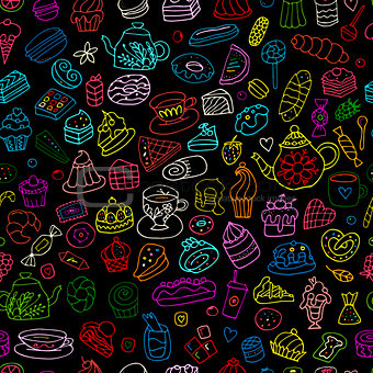 Cakes and sweets, seamless pattern for your design