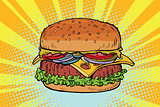 Retro juicy delicious Burger with meat and salad