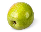 Tasty ripe green apple rotated