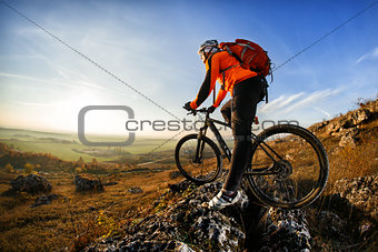 cyclist with a backpack