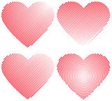 Set icons red heart shape