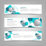 Collection banners with blue circles and bubbles template