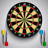 Dart boards with colored steel darts template