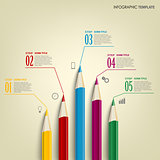 Info graphic with colored pencils template