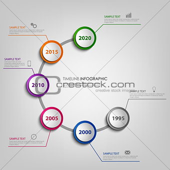Time line info graphic with colored pointers in spiral