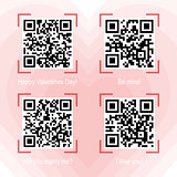 Qr codes samples on valentine theme