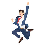Happy Business men jumping with raised arm