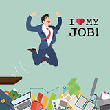 Happy businessman jumping in the work