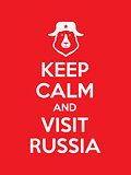 Keep calm and visit Russia red poster
