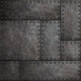 Dark metal plates with rivets seamless background or texture