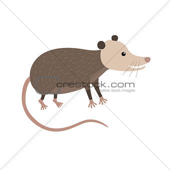 Clipart illustration of cute cartoon opossum
