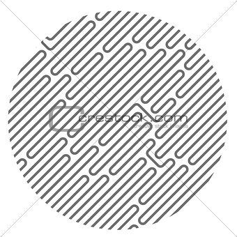 Circle filled with diagonal maze pattern