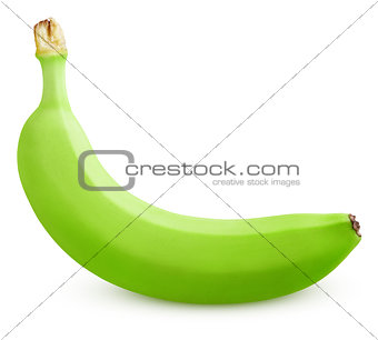 Single green banana isolated on white