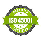 ISO 45001 standard certificate badge - health and safety