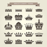 Heraldic crowns set - monarchy coronet and elite symbols