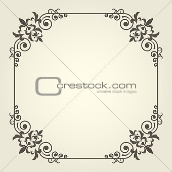 Art nouveau square frame with ornate curly corners