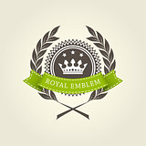 Royal emblem template with laurel wreath