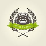 Royal emblem template with laurel wreath