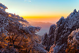 Winter sunrise landscape in Huangshan National park.