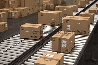 Boxes on conveyor roller. 3D Rendering