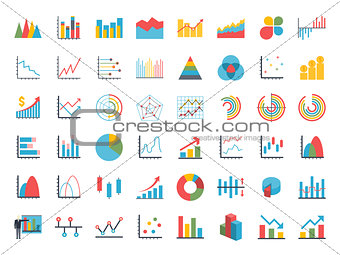 Business data elements dot bar pie charts graphs.