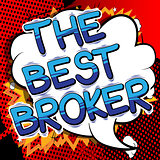 The Best Broker - Comic book style word.
