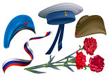 Defender of Fatherland Day. Set of accessories for greeting card field cap, peakless hat, beret, carnation flower bouquet, ribbon Russian flag