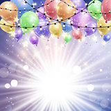 Balloons on a starburst background