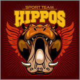 Hippo head - sport team. Mascot vector illustration
