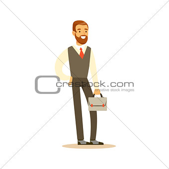 Beardy Businessman With Suitcase, Business Office Employee In Official Dress Code Clothing Busy At Work Smiling Cartoon Characters