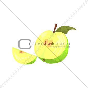Green Cut Apple Funky Hand Drawn Fresh Fruit Cartoon Illustration