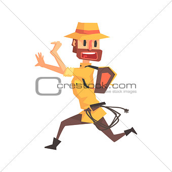 Adventurer Archeologist In Safari Outfit And Hat Running Away Illustration From Funny Archeology Scientist Series