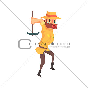Adventurer Archeologist In Safari Outfit And Hat Working With Pick Axe Illustration From Funny Archeology Scientist Series