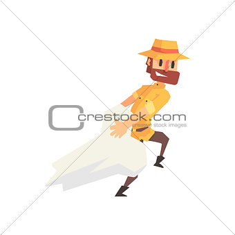 Adventurer Archeologist In Safari Outfit And Hat Dragging Giant Dinosaur Bone Illustration From Funny Archeology Scientist Series