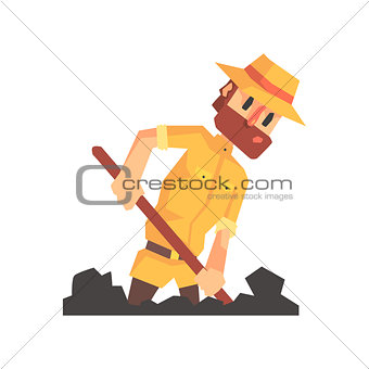 Adventurer Archeologist In Safari Outfit And Hat Digging The Ground Illustration From Funny Archeology Scientist Series